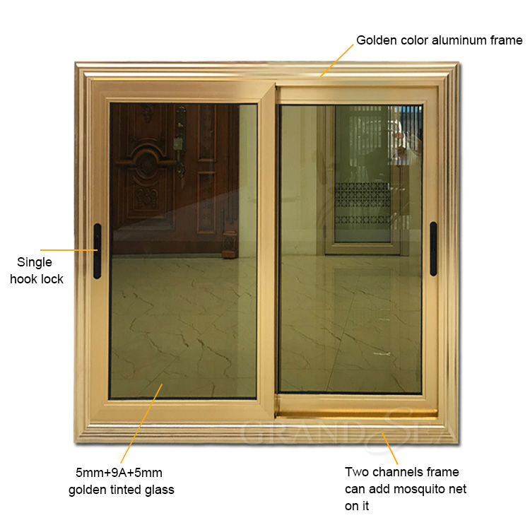 golden color aluminium sliding windows