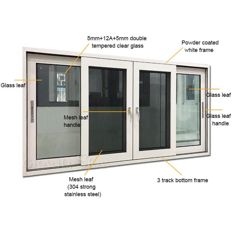 Best Thermal Break Double Glazed Aluminum Alloy 4 Panel Sliding Glass Windows China Thermal Break Double Glazed Aluminum Alloy 4 Panel Sliding Glass Windows Suppliers Cngrandsea Com