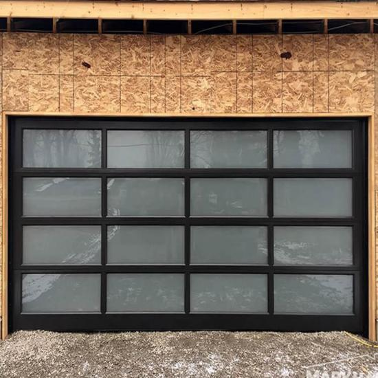 Best Residential Black Color Aluminum, Frosted Glass Garage Doors