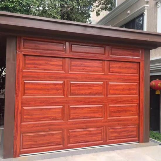 aluminum wooden grain garage door