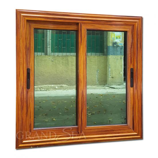 wooden grain aluminum sliding window