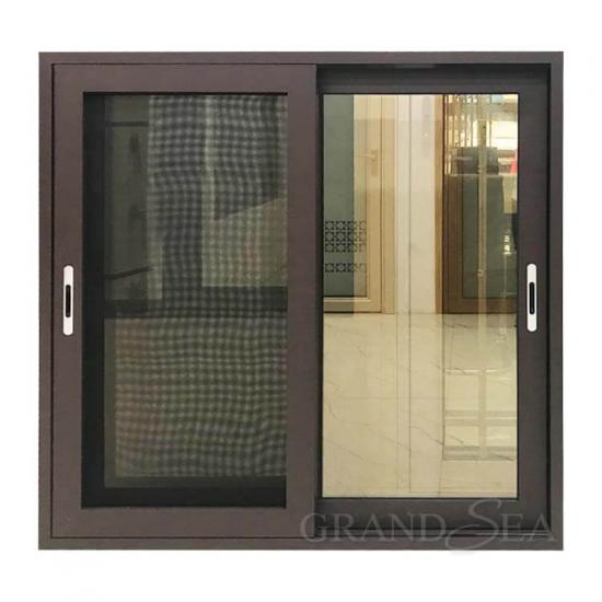 brown aluminum sliding window