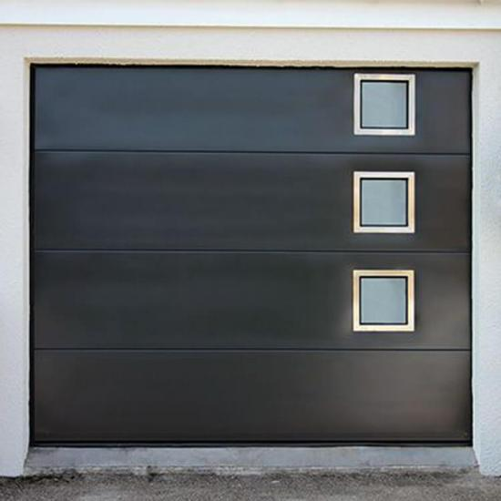 black garage door design