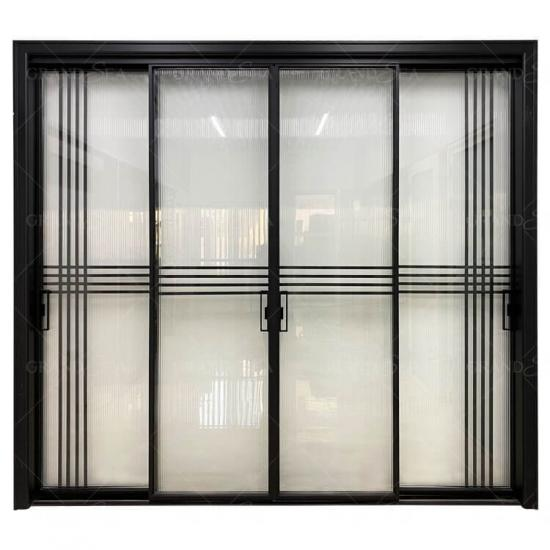 black aluminum glass sliding door designs