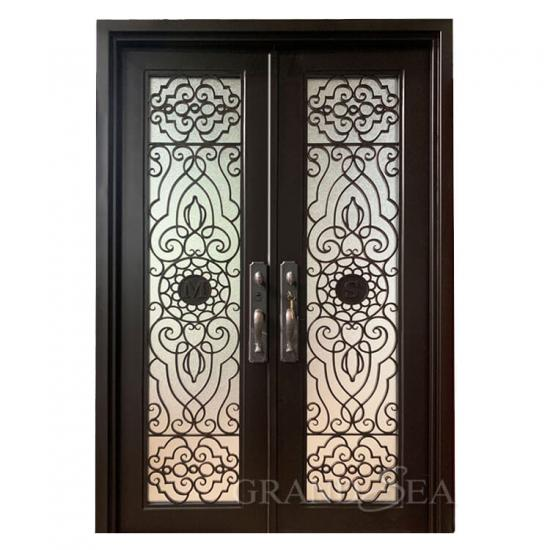 black wrought iron door