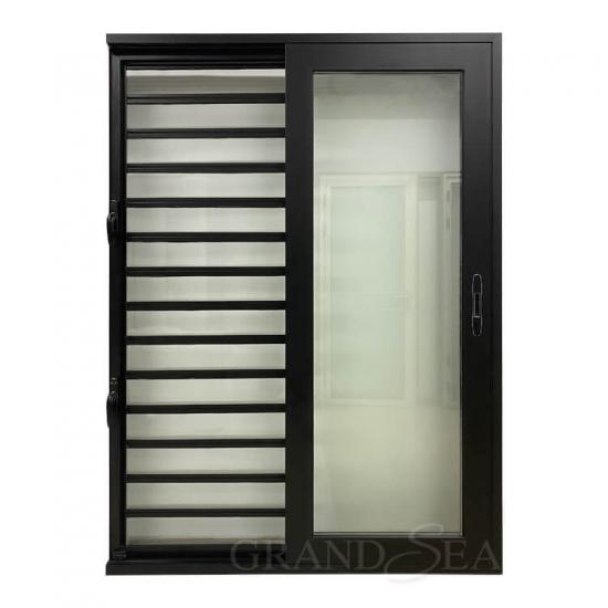 sliding door with glass louvers